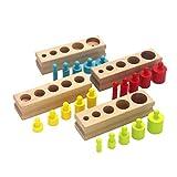 Veroda Montessori Mini Perilla Cilindros Bloques de Madera Familia Set Juguetes (Vistoso)