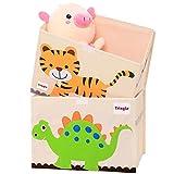 TsingLe Caja de almacenamiento grande para juguetes con tapa, plegable, caja de almacenamiento de juguetes, 35,8 x 51,8 x 35,5 cm, 65 L (Dinosaurio y tigre (paquete de 2)
