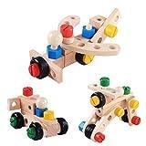Juegos de Construcciónes Madera Montessori ninos Juguetes, construccion Bloques Colores Tuercas Tornillos Herramienta para educativos Aprendizaje 34 Piezas. Bricolaje Puzzle Toys con Destornillador