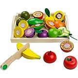yoptote Frutas de Madera Cortar Frutas Surtido Verduras Juguetes Montessori Comida Madera Cocinas de Juguete para Niños Regalos de Día del Niño Cumpleaños Infantiles Pascua Niños