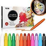 Y.F.M 12 Colores Pinturas Faciales y Corporales, Lapices Faciales - Kit de Decoración de Halloween, Maquillaje Navidad y Fiestas - No Tóxico, Adecuado para Embarazadas y Niños