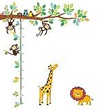 DECOWALL DW-1402 Árbol de Monitos y Gráfica de Altura de Animales Vinilo Pegatinas Decorativas Adhesiva Pared Dormitorio Saln Guardera Habitaci Infantiles Nios Bebs