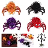 DERU® Araña Aterradora para Halloween, 4 Piezas Halloween Araña de la Felpa, Halloween Decoración de Araña, Peluche De Araña para Patio de Pared de Ventana Decoración Interior al Aire Libre