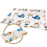 Bamny Alfombra de Juego para Niños de 200x180x1cm, Alfombra de Espuma XPE, Antideslizante, Plegable Portátil, Impermeable en ambos lados(Patrón de la Casa del Árbol)