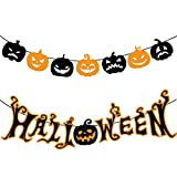HENTEK Bandera Banderinas Halloween Calabaza, Banner de Guirnalda Halloween para adornar Fiesta de Halloween Fantasmas Fiest