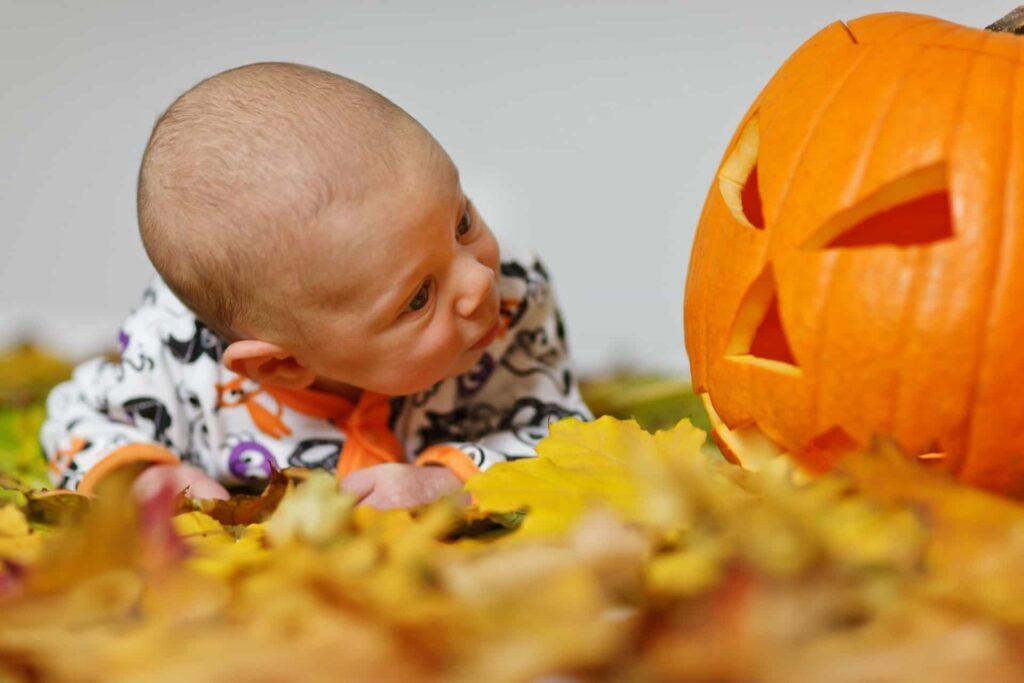 Bebé mirando una calabaza de Halloween